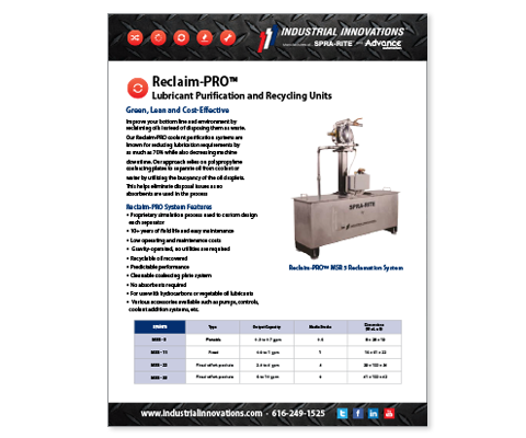 Download Industrial Innovations Reclaim-PRO Systems Catalog. For more information, please call us at 616-249-1525.